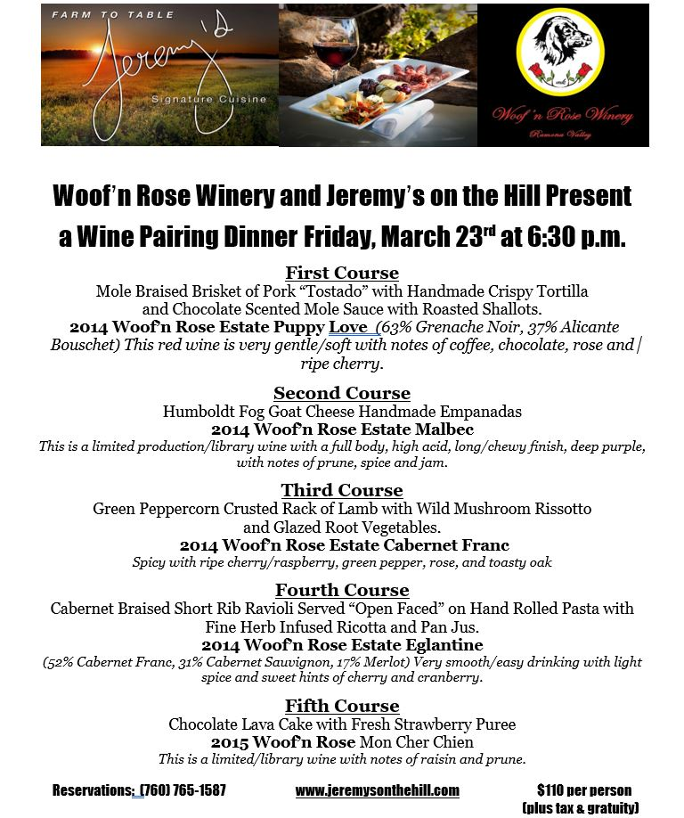 Woof'n Rose Winery and Jeremy's on the Hill Present a Wine Pairing Dinner @ Jeremy's On the Hill | Julian | California | United States
