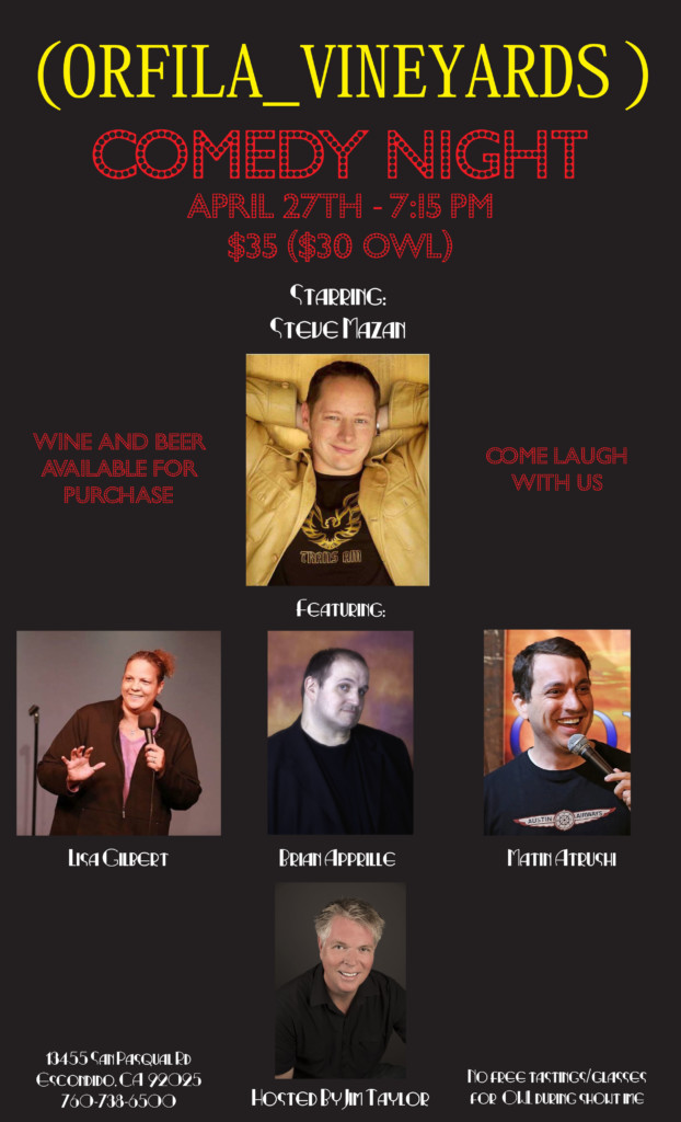 Comedy Night at Orfila @ Orfila Vineyards