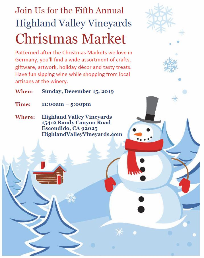 5th Annual Highland Valley Vineyards Christmas Market @ Highland Valley Vineyards